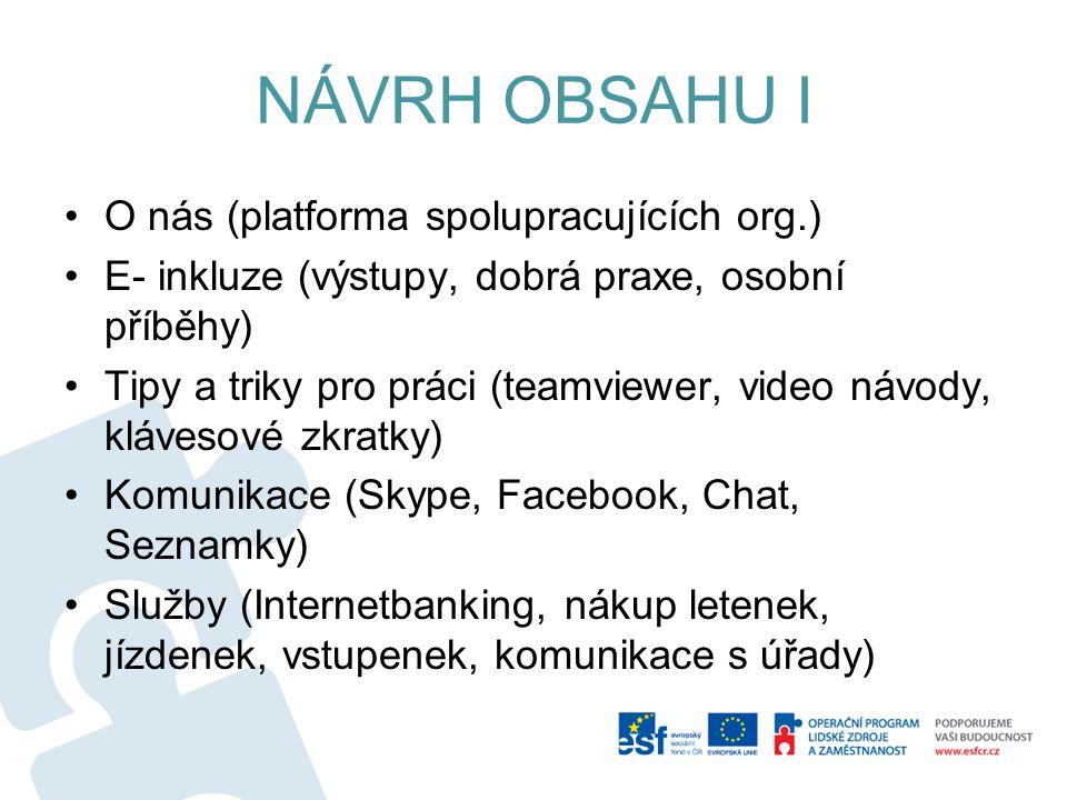 NÁVRH OBSAHU I O nás (platforma spolupracujících org.) E- inkluze (výstupy, dobrá praxe, osobní příběhy) Tipy a triky pro práci (teamviewer, video návody, klávesové zkratky) Komunikace (Skype, Facebook, Chat, Seznamky) Služby (Internetbanking, nákup letenek, jízdenek, vstupenek, komunikace s úřady)