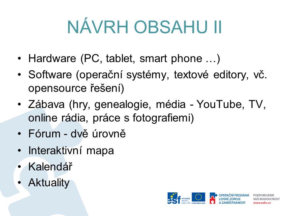 NÁVRH OBSAHU II Hardware (PC, tablet, smart phone …) Software (operační systémy, textové editory, vč.
