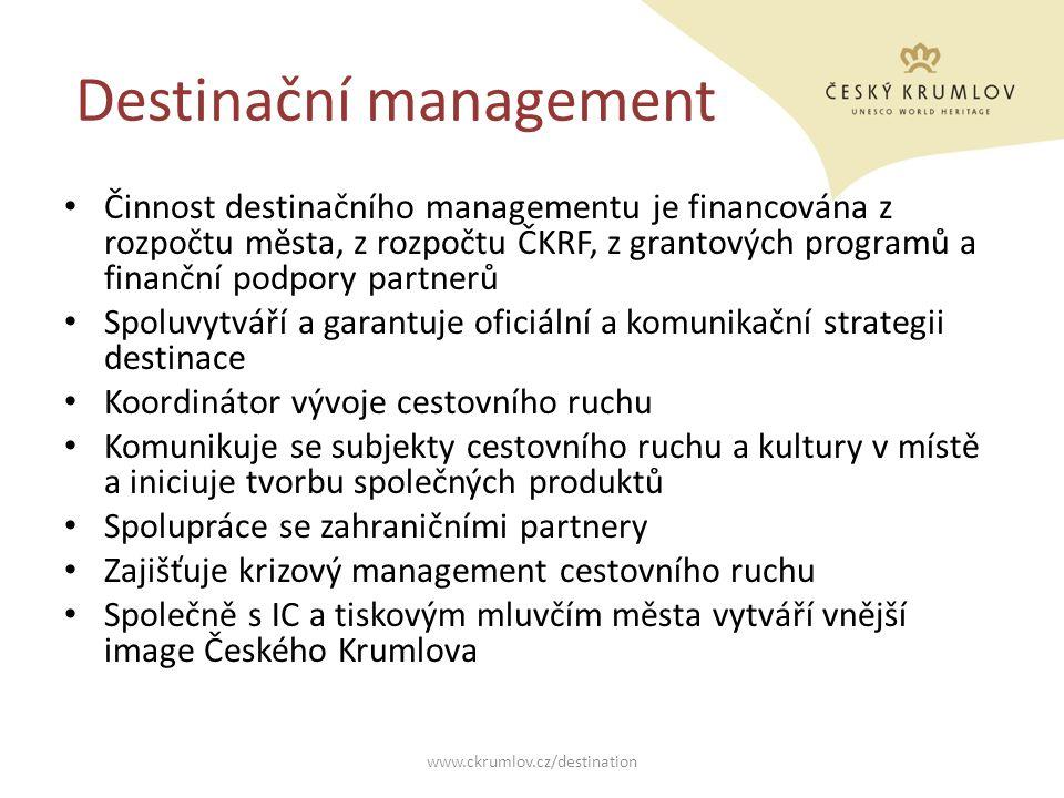 Destinační management Činnost destinačního managementu je financována z rozpočtu města, z rozpočtu ČKRF, z grantových programů a finanční podpory part