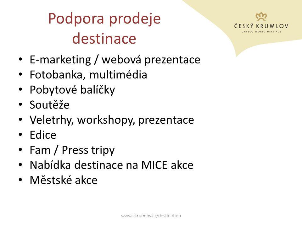 Podpora prodeje destinace E-marketing / webová prezentace Fotobanka, multimédia Pobytové balíčky Soutěže Veletrhy, workshopy, prezentace Edice Fam / P