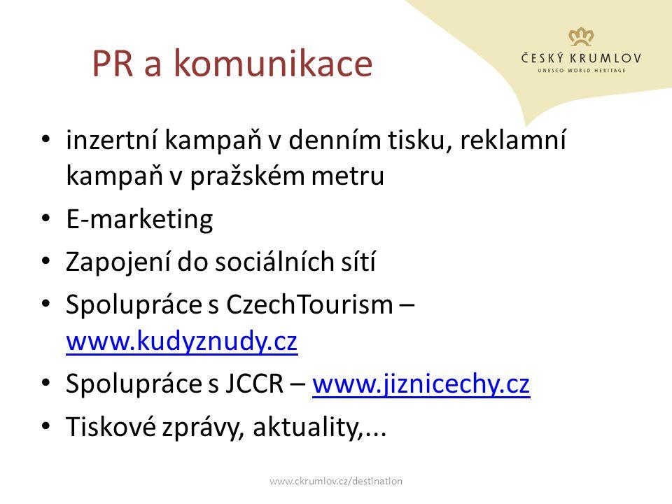 PR a komunikace inzertní kampaň v denním tisku, reklamní kampaň v pražském metru E-marketing Zapojení do sociálních sítí Spolupráce s CzechTourism – w