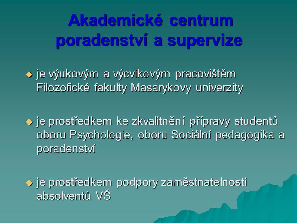Akademické centrum poradenství a supervize Akademické centrum poradenství a supervize  je výukovým a výcvikovým pracovištěm Filozofické fakulty Masar