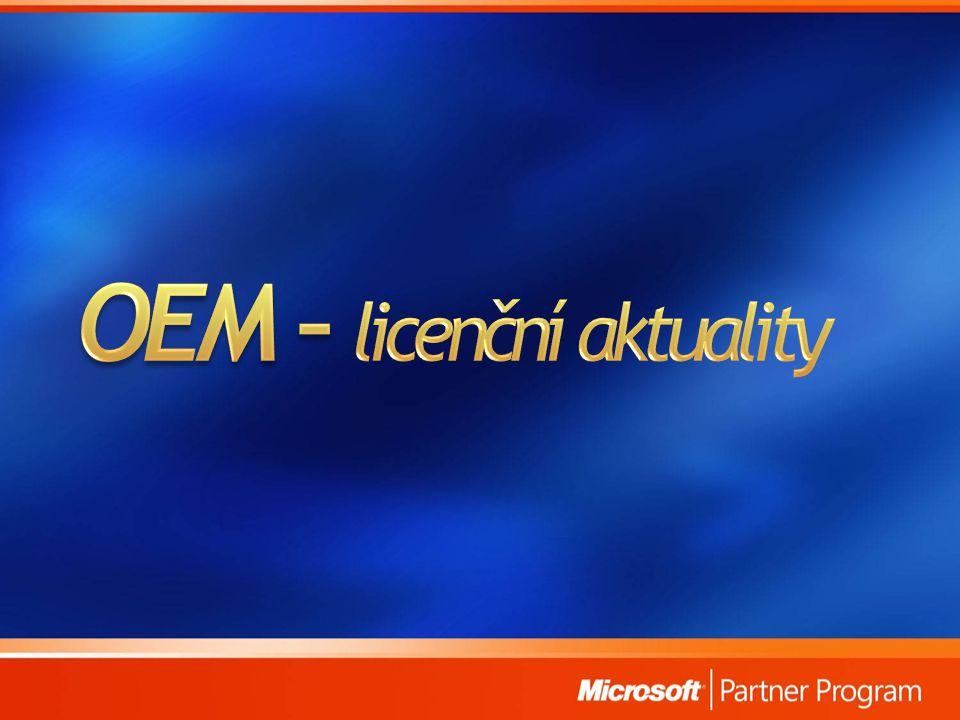 Možno downgradovat z edic Vista Business a Ultimate Downgrade je možný pouze na Windows XP Pro Postup OEM System Builder: - Instalace z originálních medií Windows XP s produkt klíčem - telefonická aktivace (uvést že se jedná o downgrade) - bude sdělen aktivační kód Postup Direct OEM partner: - možnost nainstalovat Windows XP při výrobě - dodat recovery média na Win XP Možnost kdykoliv opět přejít na Windows Vista!!