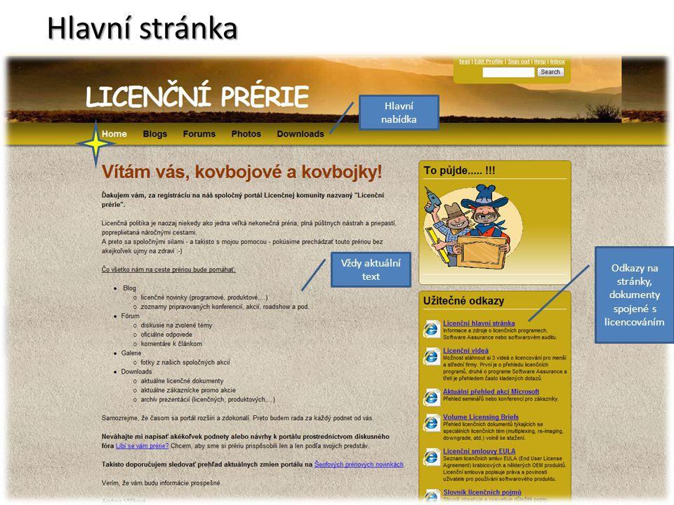 Odkazy na stránky, dokumenty spojené s licencováním Hlavní nabídka Vždy aktuální text Hlavní stránka