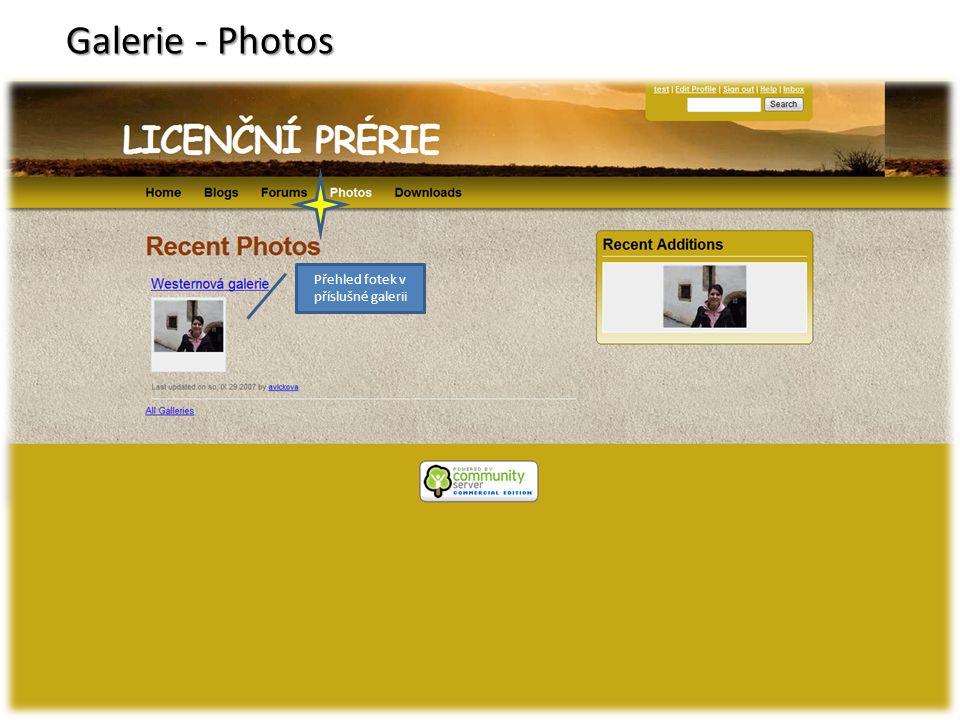 Galerie - Photos Přehled fotek v příslušné galerii