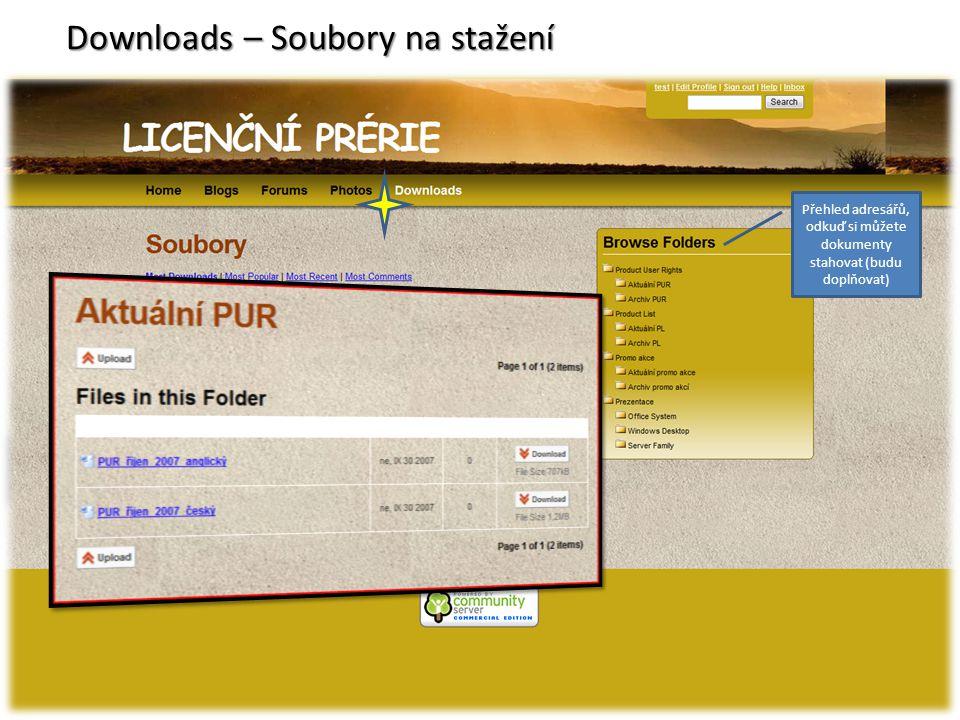 Downloads – Soubory na stažení Přehled adresářů, odkuď si můžete dokumenty stahovat (budu doplňovat)
