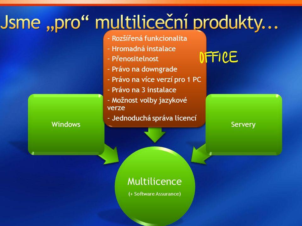 Multilicence (+ Software Assurance) Windows - Rozšířená funkcionalita - Hromadná instalace - Přenositelnost - Právo na downgrade - Právo na více verzí