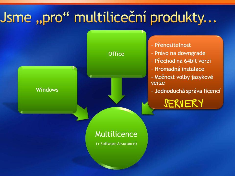 Multilicence (+ Software Assurance) WindowsOffice - Přenositelnost - Právo na downgrade - Přechod na 64bit verzi - Hromadná instalace - Možnost volby