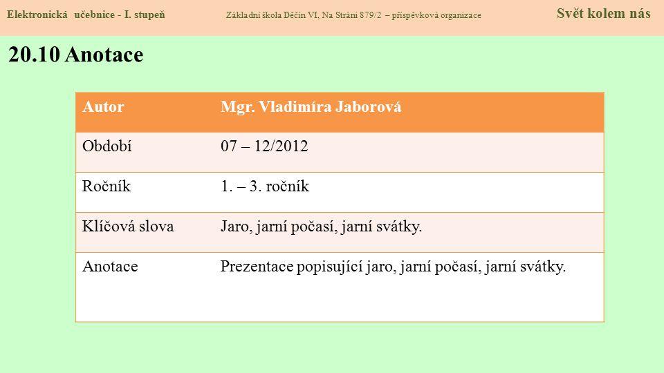 20.9 Použité zdroje, citace Elektronická učebnice - I. stupeň Základní škola Děčín VI, Na Stráni 879/2 – příspěvková organizace Svět kolem nás 1.http: