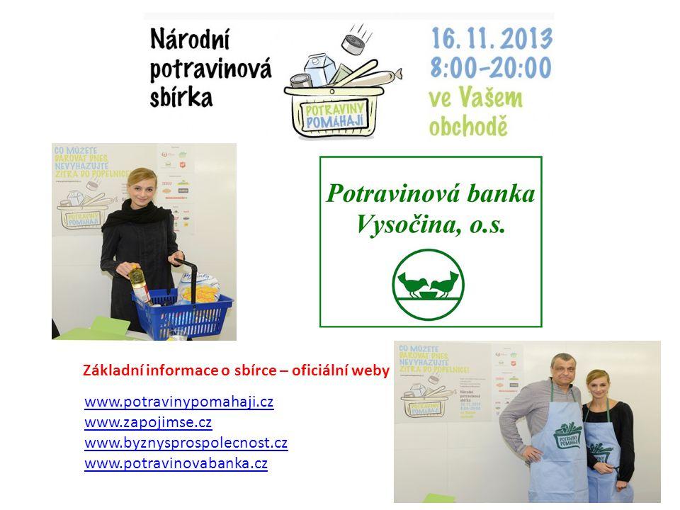 www.potravinypomahaji.cz www.zapojimse.cz www.byznysprospolecnost.cz www.potravinovabanka.cz Základní informace o sbírce – oficiální weby