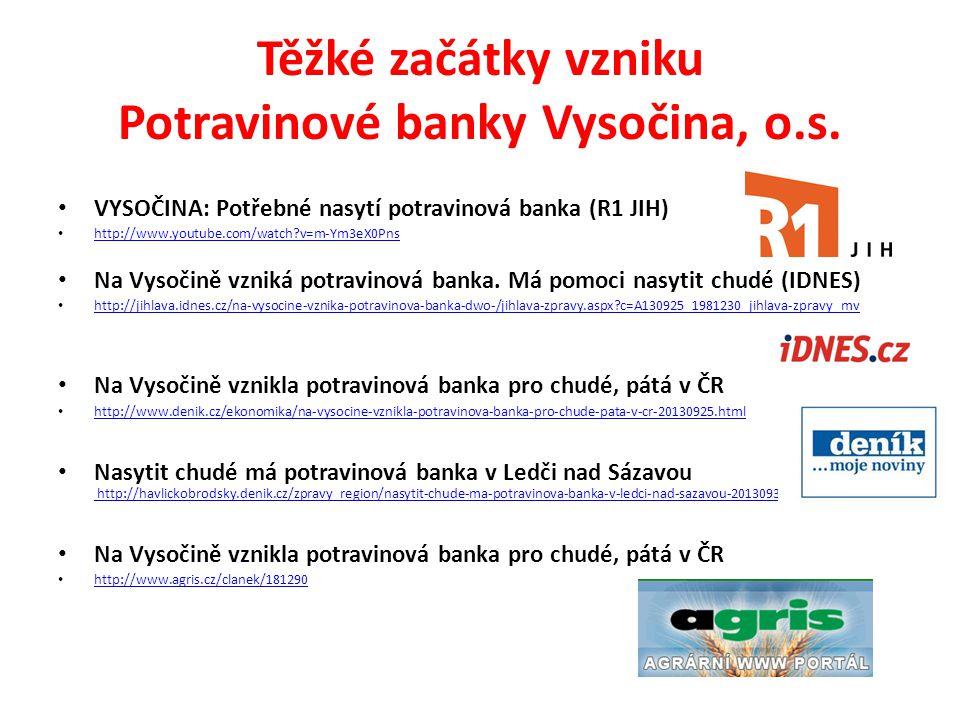 Těžké začátky vzniku Potravinové banky Vysočina, o.s.