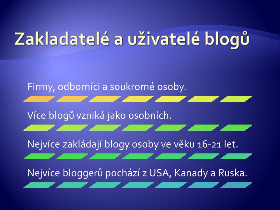 Firmy, odborníci a soukromé osoby. Více blogů vzniká jako osobních.