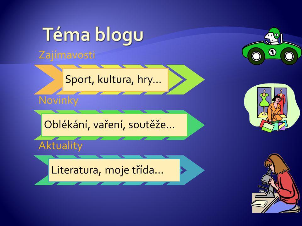 Zajímavosti Sport, kultura, hry… Novinky Oblékání, vaření, soutěže… Aktuality Literatura, moje třída…