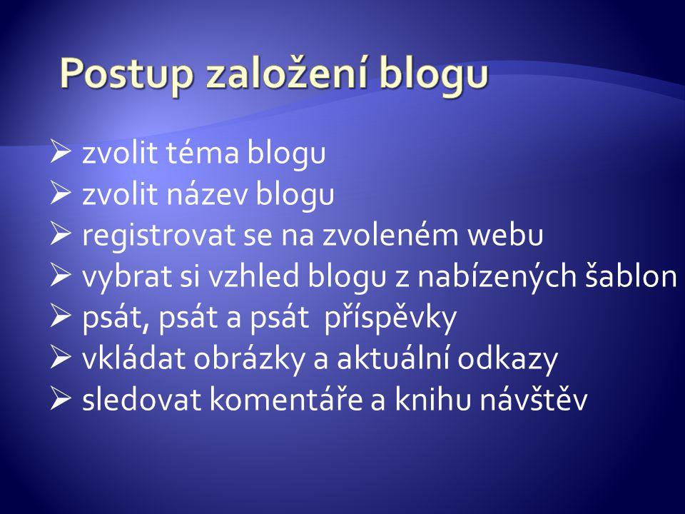  zvolit téma blogu  zvolit název blogu  registrovat se na zvoleném webu  vybrat si vzhled blogu z nabízených šablon  psát, psát a psát příspěvky  vkládat obrázky a aktuální odkazy  sledovat komentáře a knihu návštěv