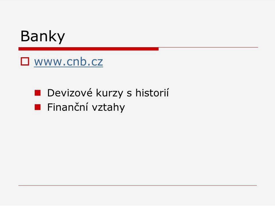 Banky  www.cnb.cz www.cnb.cz Devizové kurzy s historií Finanční vztahy