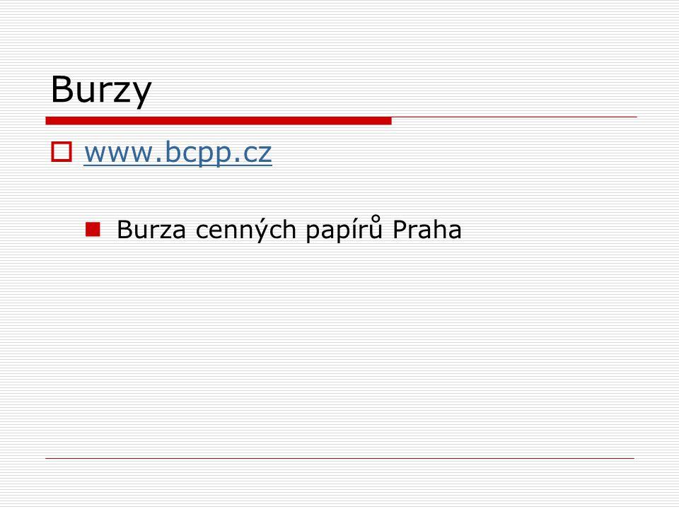Burzy  www.bcpp.cz www.bcpp.cz Burza cenných papírů Praha