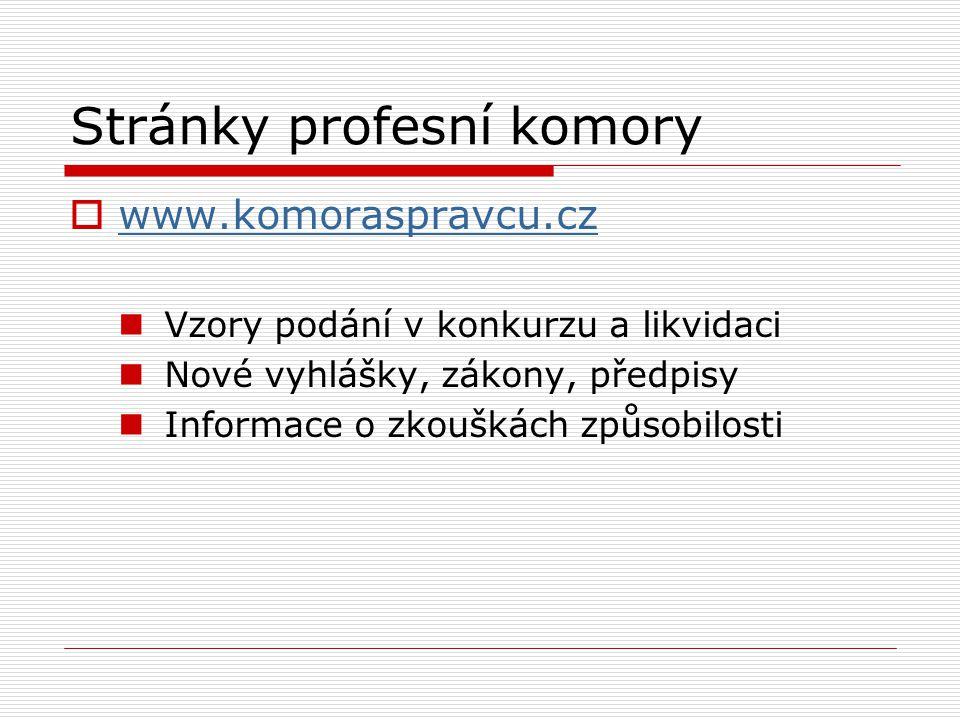 Stránky profesní komory  www.komoraspravcu.cz www.komoraspravcu.cz Vzory podání v konkurzu a likvidaci Nové vyhlášky, zákony, předpisy Informace o zkouškách způsobilosti