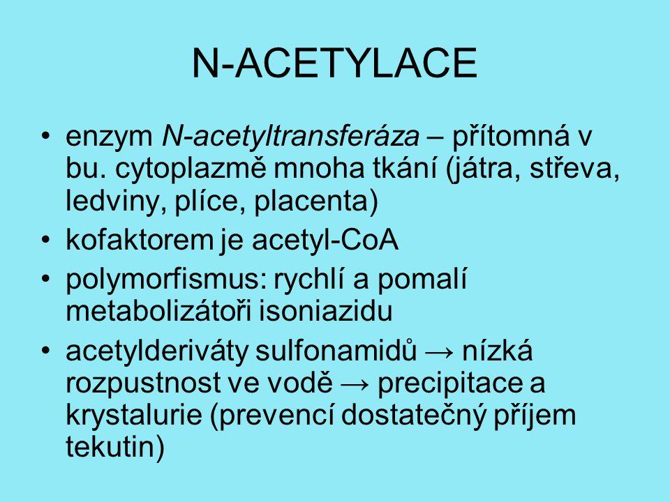N-ACETYLACE enzym N-acetyltransferáza – přítomná v bu. cytoplazmě mnoha tkání (játra, střeva, ledviny, plíce, placenta) kofaktorem je acetyl-CoA polym