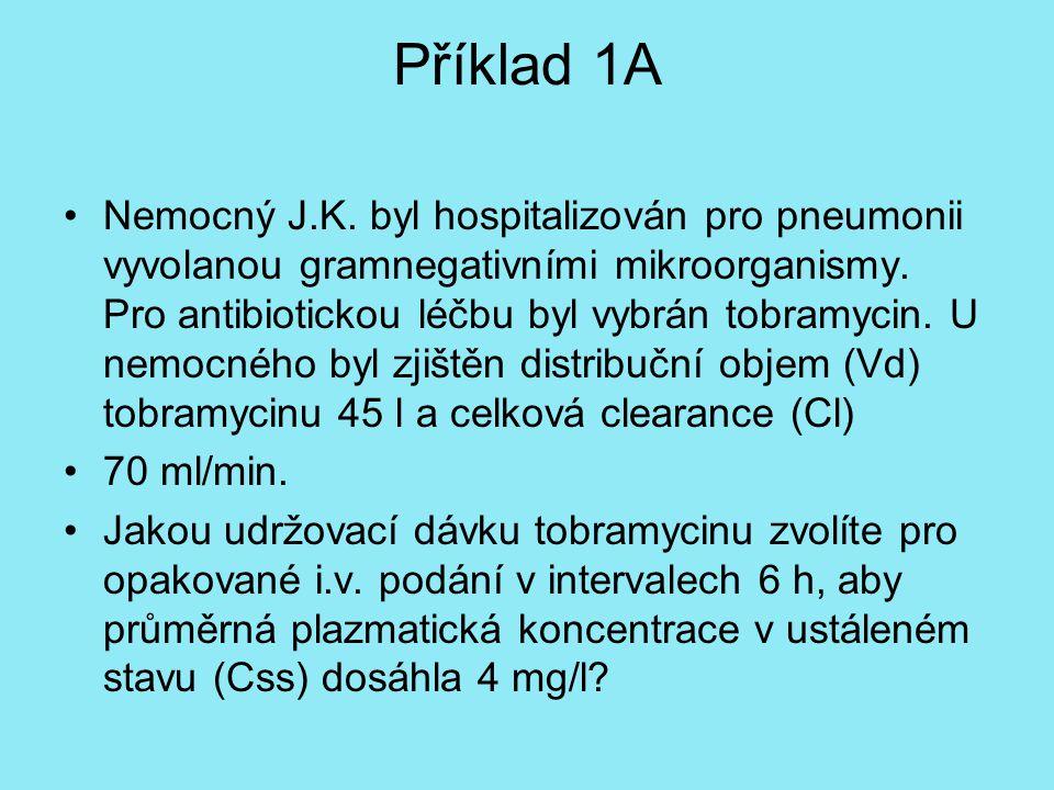 Příklad 1A Nemocný J.K. byl hospitalizován pro pneumonii vyvolanou gramnegativními mikroorganismy. Pro antibiotickou léčbu byl vybrán tobramycin. U ne
