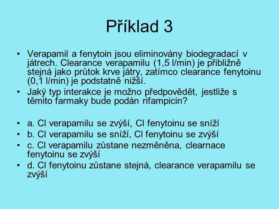 Příklad 3 Verapamil a fenytoin jsou eliminovány biodegradací v játrech. Clearance verapamilu (1,5 l/min) je přibližně stejná jako průtok krve játry, z