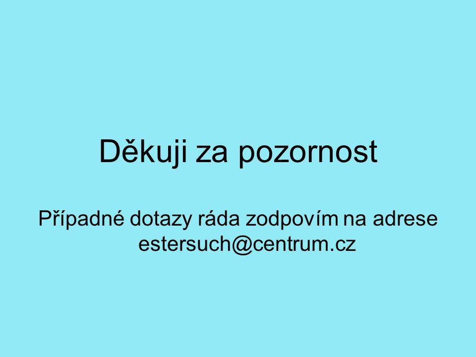Děkuji za pozornost Případné dotazy ráda zodpovím na adrese estersuch@centrum.cz