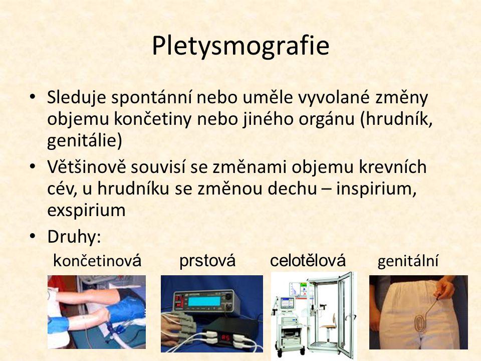 Pletysmografie Sleduje spontánní nebo uměle vyvolané změny objemu končetiny nebo jiného orgánu (hrudník, genitálie) Většinově souvisí se změnami objemu krevních cév, u hrudníku se změnou dechu – inspirium, exspirium Druhy: k ončetinov á prstová celotělová genitální