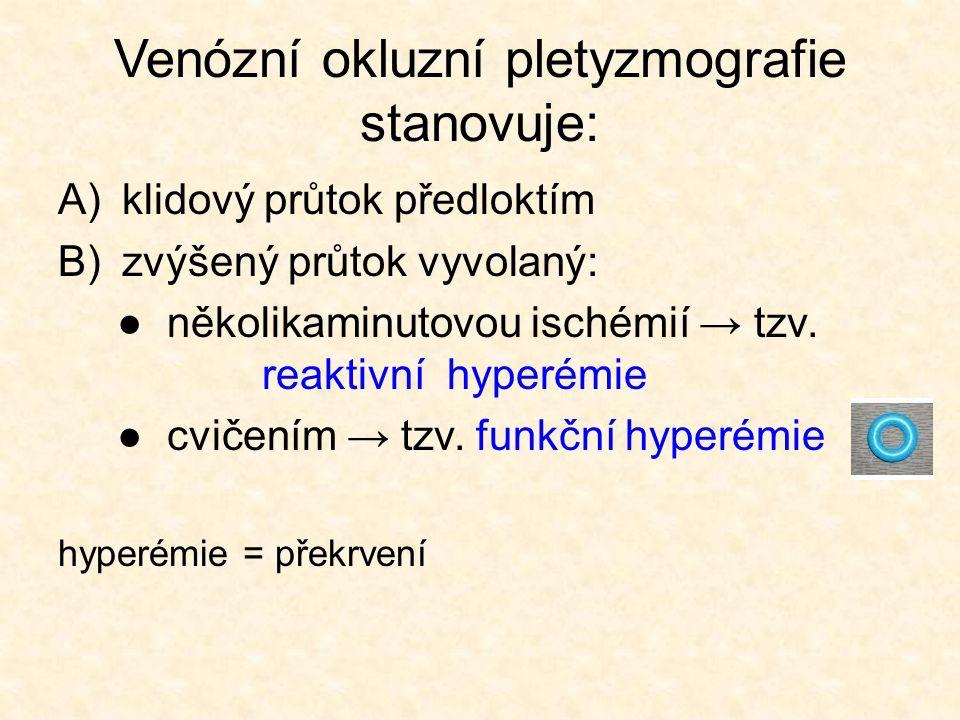 Venózní okluzní pletyzmografie stanovuje: A)klidový průtok předloktím B)zvýšený průtok vyvolaný: ● několikaminutovou ischémií → tzv.