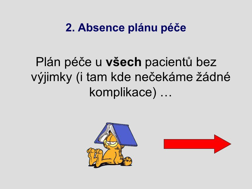 2. Absence plánu péče Plán péče u všech pacientů bez výjimky (i tam kde nečekáme žádné komplikace) …