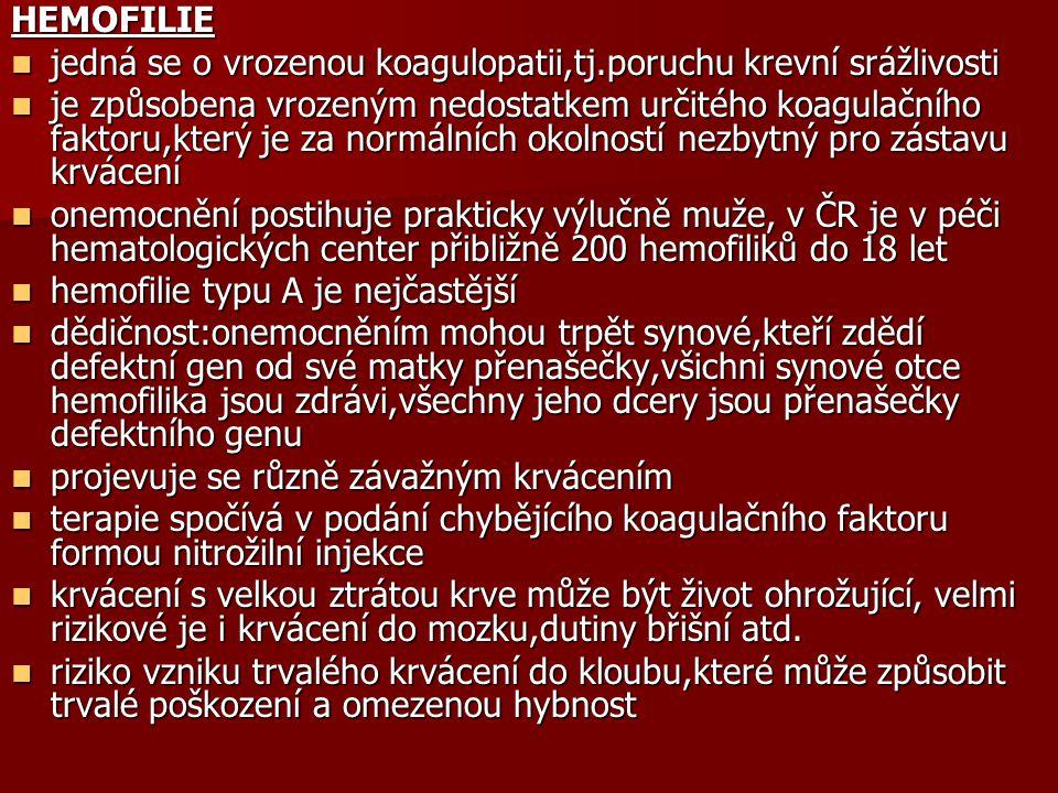 HEMOFILIE jedná se o vrozenou koagulopatii,tj.poruchu krevní srážlivosti jedná se o vrozenou koagulopatii,tj.poruchu krevní srážlivosti je způsobena v