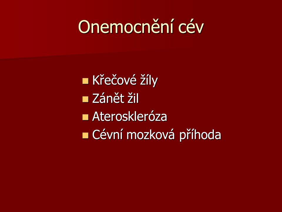 Onemocnění cév Křečové žíly Křečové žíly Zánět žil Zánět žil Ateroskleróza Ateroskleróza Cévní mozková příhoda Cévní mozková příhoda