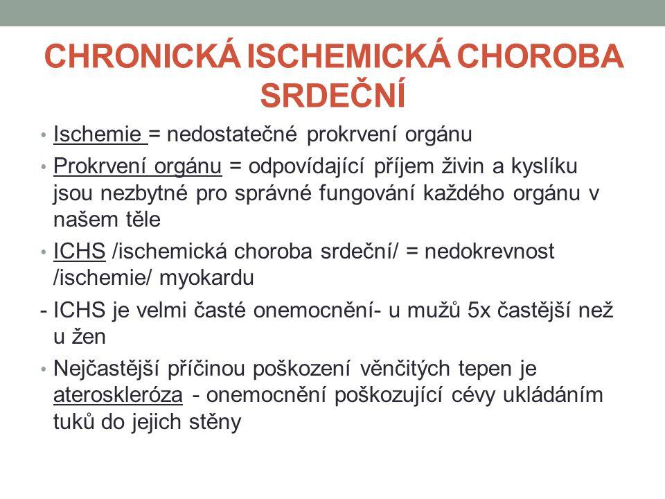 CHRONICKÁ ISCHEMICKÁ CHOROBA SRDEČNÍ Ischemie = nedostatečné prokrvení orgánu Prokrvení orgánu = odpovídající příjem živin a kyslíku jsou nezbytné pro