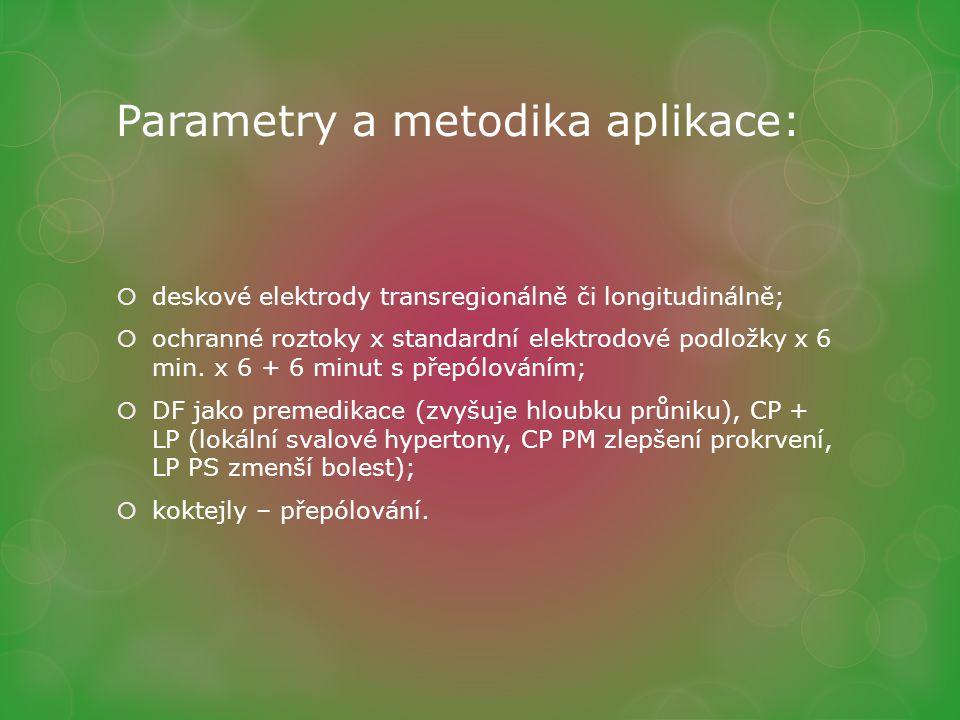 Parametry a metodika aplikace:  deskové elektrody transregionálně či longitudinálně;  ochranné roztoky x standardní elektrodové podložky x 6 min. x