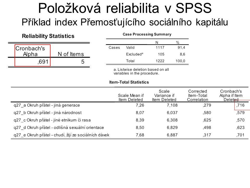 Vyřazení položky A – jiná generace Položková reliabilita v SPSS Příklad index Přemosťujícího sociálního kapitálu