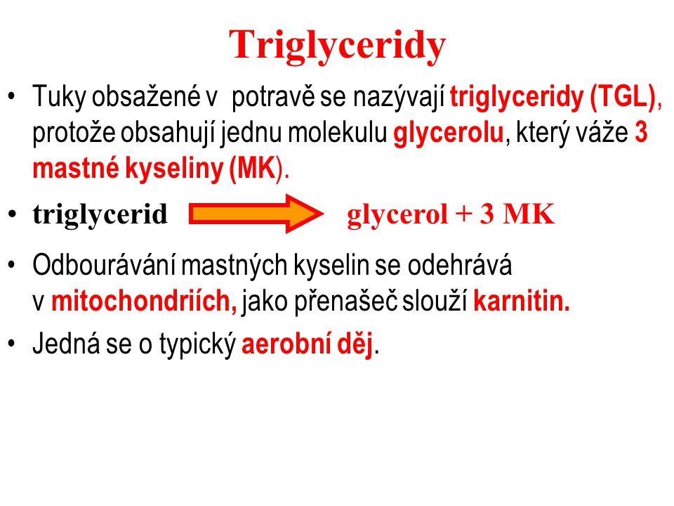Triglyceridy Tuky obsažené v potravě se nazývají triglyceridy (TGL), protože obsahují jednu molekulu glycerolu, který váže 3 mastné kyseliny (MK ). tr