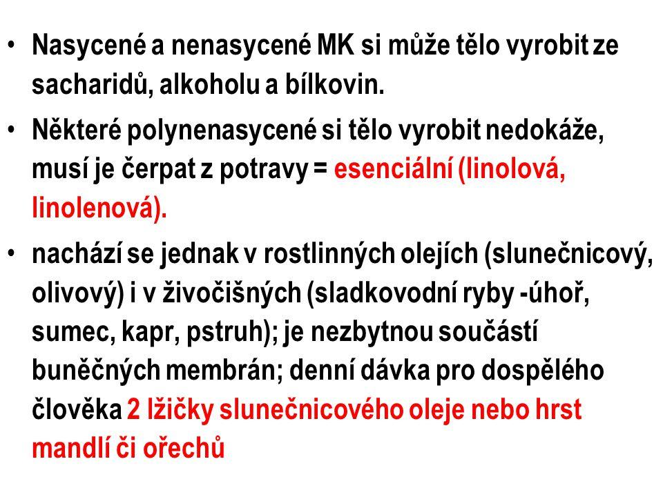 Nasycené a nenasycené MK si může tělo vyrobit ze sacharidů, alkoholu a bílkovin. Některé polynenasycené si tělo vyrobit nedokáže, musí je čerpat z pot