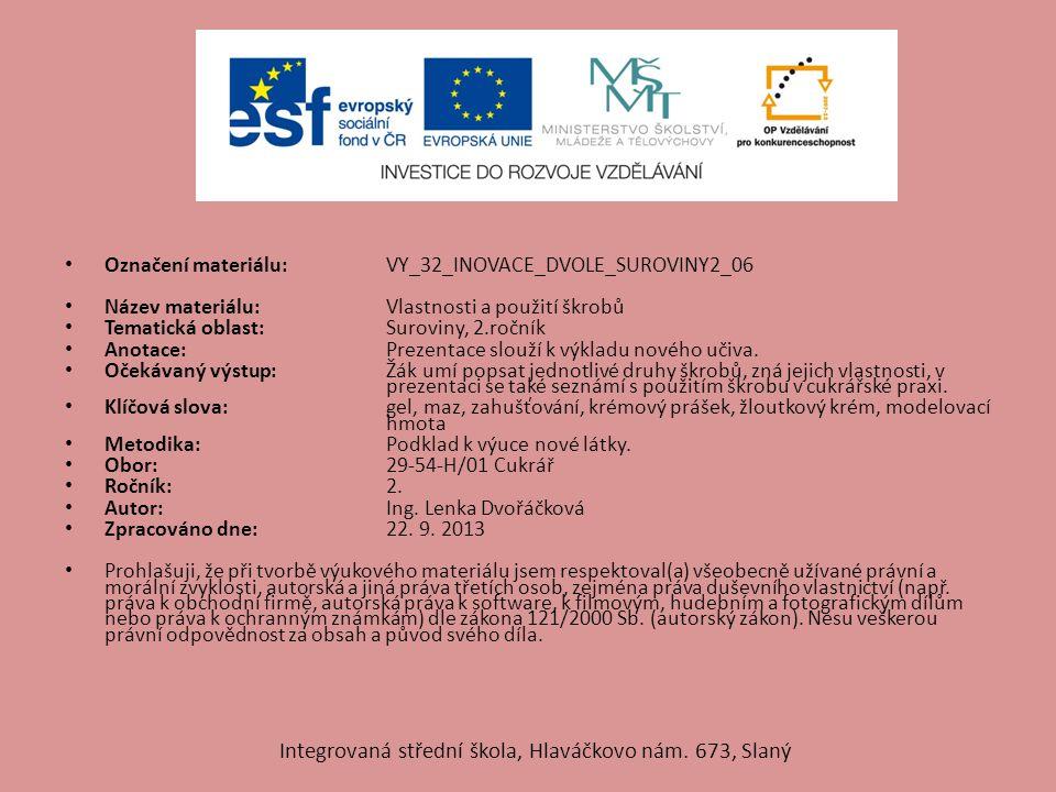 VLASTNOSTI ŠKROBŮ Použití škrobů Integrovaná střední škola, Hlaváčkovo nám. 673, Slaný