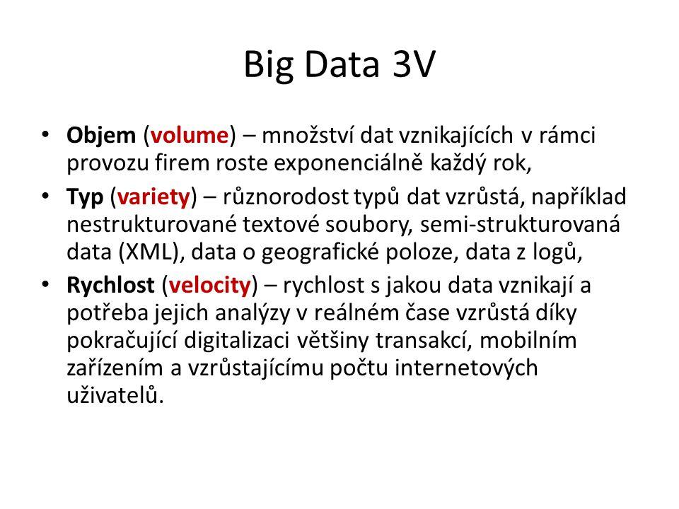 Big Data 3V Objem (volume) – množství dat vznikajících v rámci provozu firem roste exponenciálně každý rok, Typ (variety) – různorodost typů dat vzrůs