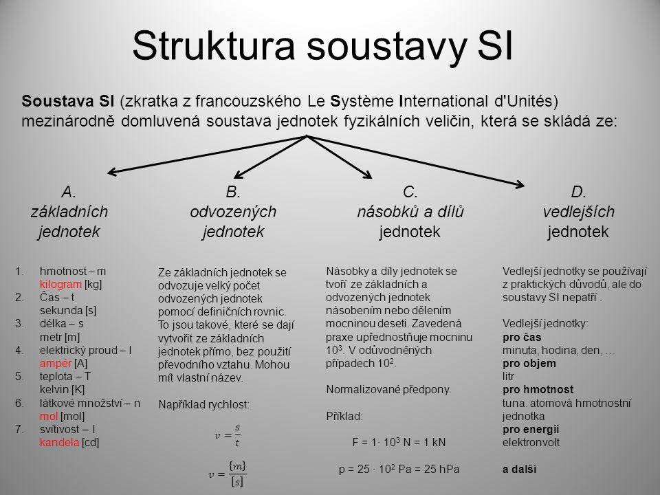 Struktura soustavy SI Soustava SI (zkratka z francouzského Le Système International d Unités) mezinárodně domluvená soustava jednotek fyzikálních veličin, která se skládá ze: A.