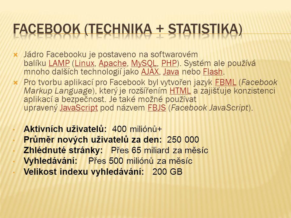  Jádro Facebooku je postaveno na softwarovém balíku LAMP (Linux, Apache, MySQL, PHP). Systém ale používá mnoho dalších technologií jako AJAX, Java ne