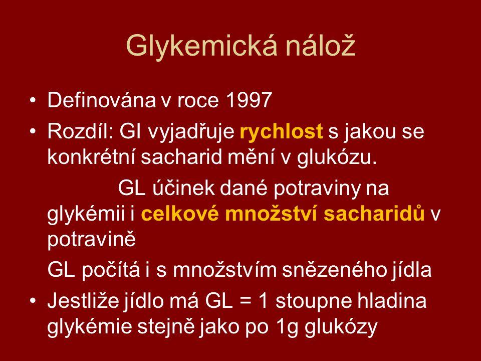 Glykemická nálož Definována v roce 1997 Rozdíl: GI vyjadřuje rychlost s jakou se konkrétní sacharid mění v glukózu. GL účinek dané potraviny na glykém