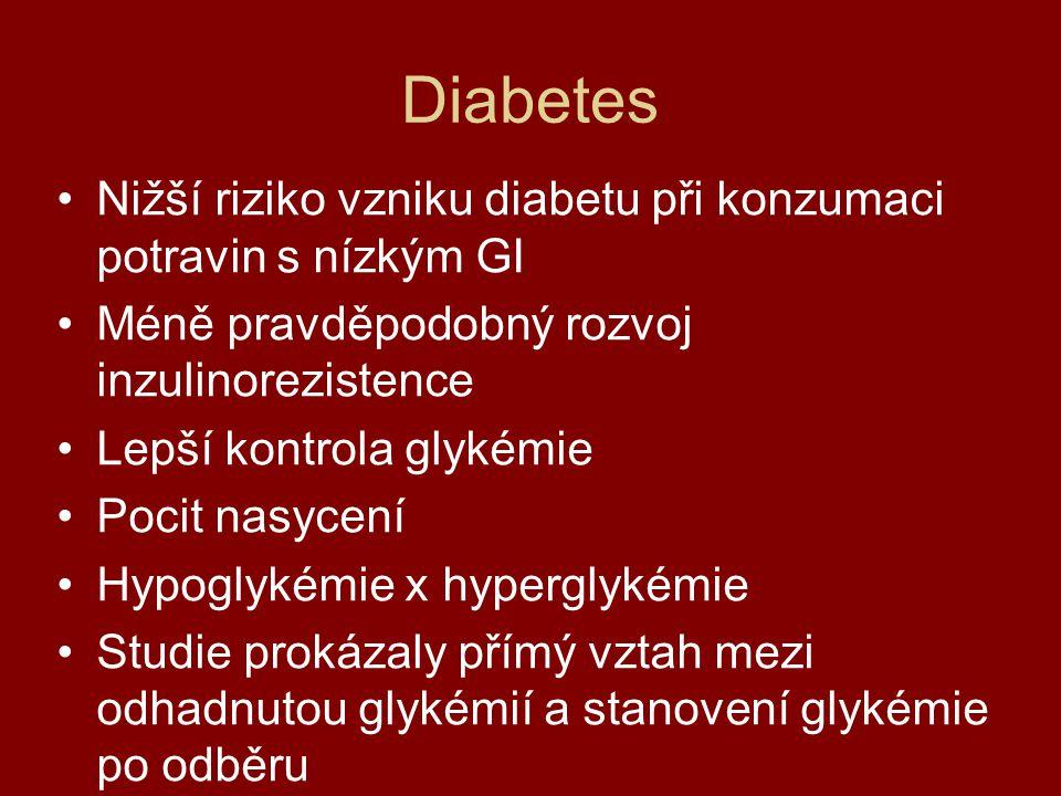Diabetes Nižší riziko vzniku diabetu při konzumaci potravin s nízkým GI Méně pravděpodobný rozvoj inzulinorezistence Lepší kontrola glykémie Pocit nas