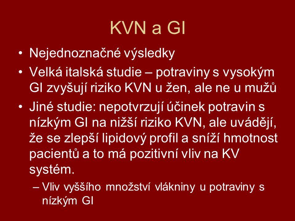 KVN a GI Nejednoznačné výsledky Velká italská studie – potraviny s vysokým GI zvyšují riziko KVN u žen, ale ne u mužů Jiné studie: nepotvrzují účinek
