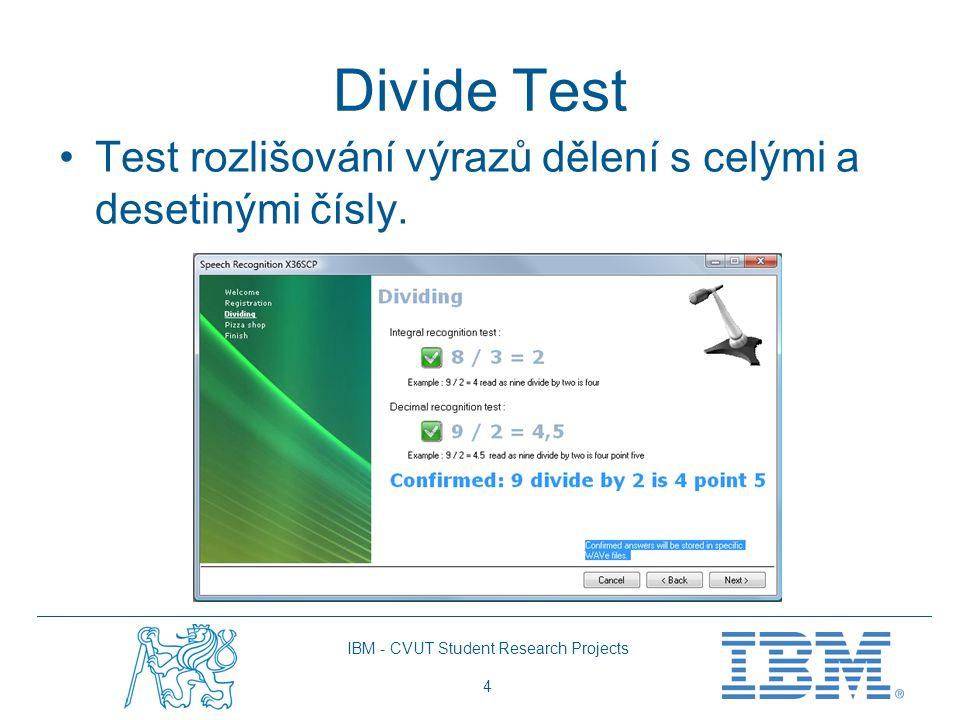 IBM - CVUT Student Research Projects 4 Divide Test Test rozlišování výrazů dělení s celými a desetinými čísly.