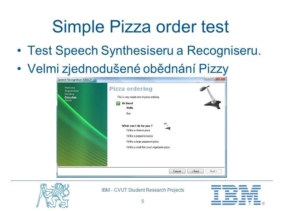 IBM - CVUT Student Research Projects 6 Závěr Speech API recogniser by bylo vhodné testovat při velkých gramatikách.