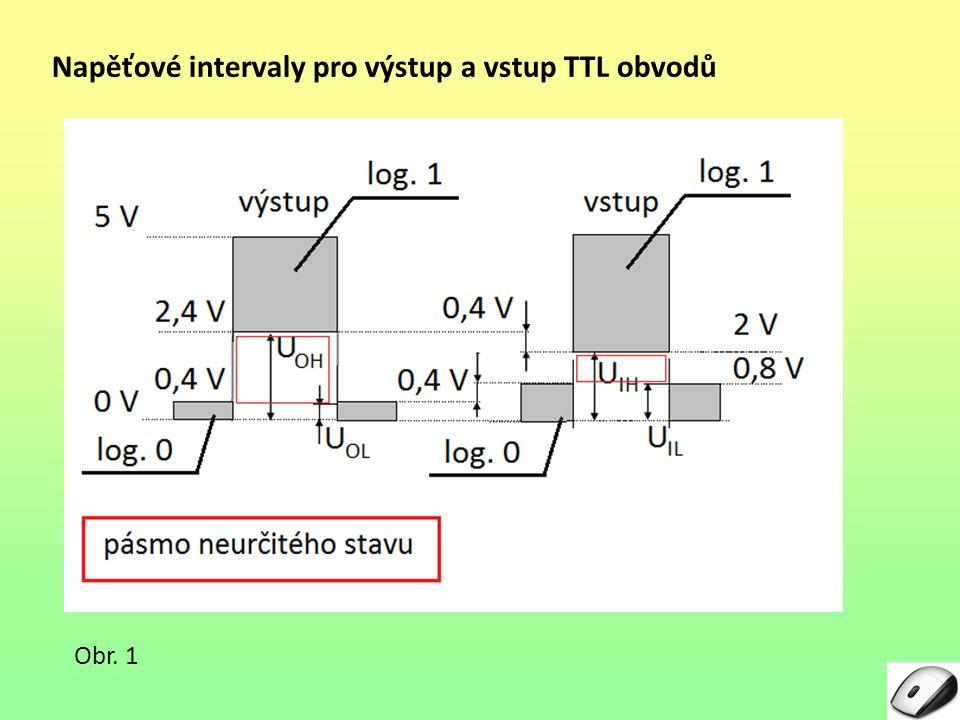 Napěťové intervaly pro výstup a vstup TTL obvodů Obr. 1