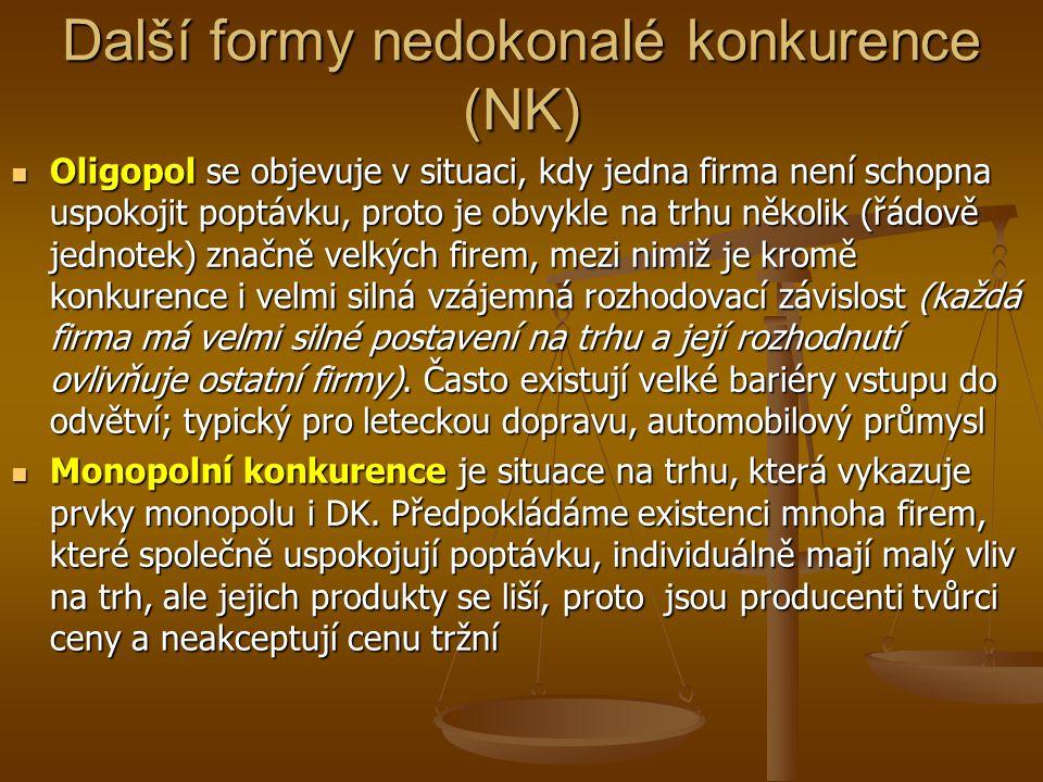 Další formy nedokonalé konkurence (NK) Oligopol se objevuje v situaci, kdy jedna firma není schopna uspokojit poptávku, proto je obvykle na trhu někol