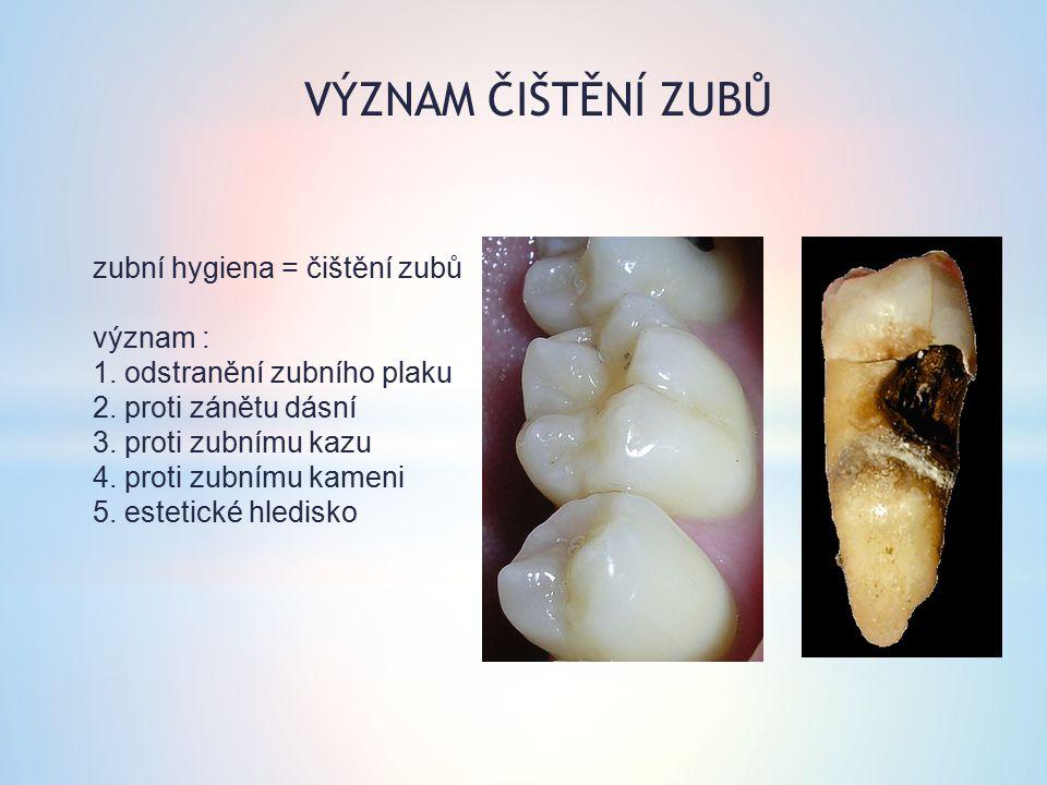 zubní hygiena = čištění zubů význam : 1. odstranění zubního plaku 2. proti zánětu dásní 3. proti zubnímu kazu 4. proti zubnímu kameni 5. estetické hle