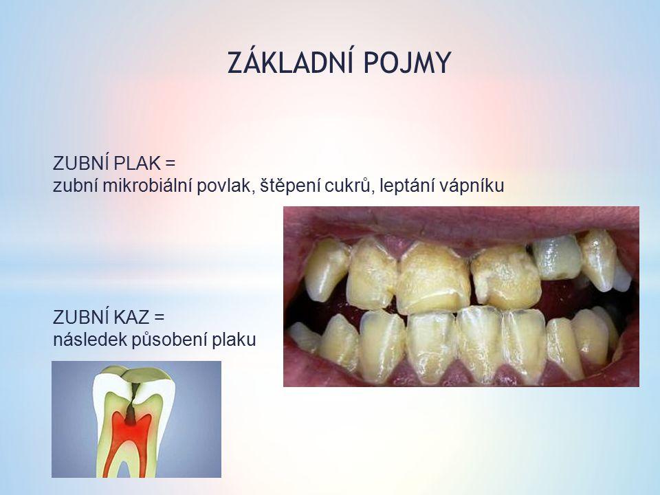 ZUBNÍ PLAK = zubní mikrobiální povlak, štěpení cukrů, leptání vápníku ZUBNÍ KAZ = následek působení plaku ZÁKLADNÍ POJMY