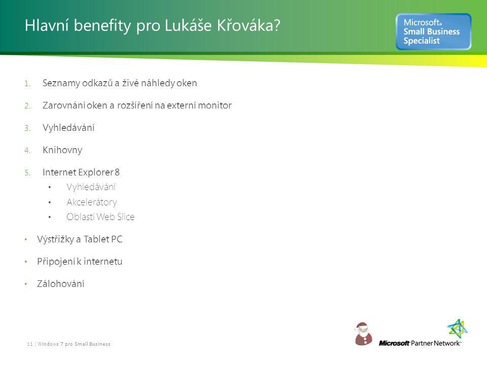 Hlavní benefity pro Lukáše Křováka. 1. Seznamy odkazů a živé náhledy oken 2.