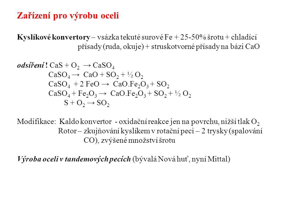 a- klasický konvertor, b – nístějivá pec, c – LD - kyslíkový konvertor, d – kyslíkový konvertor (intensivní odsíření), e- Kaldo,